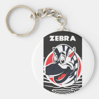 Funny cute Zebras Basic Round Button Key Ring