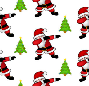 funny dabbing santa claus on white background wrapping paper - Funny Christmas Wrapping Paper