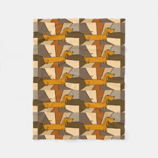 Funny Dachshund Dog Abstract Fleece Blanket