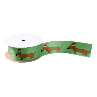 Funny Dachshund Dog Christmas Ribbon Satin Ribbon