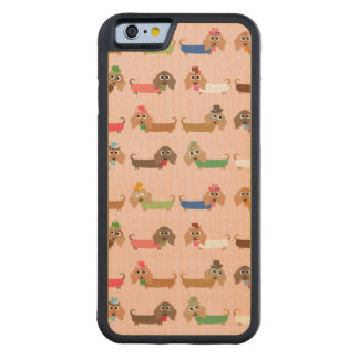 Funny Dachshund Dogs Carved Maple iPhone 6 Bumper Case