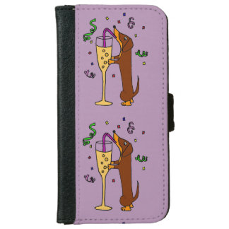 Funny Dachshund Drinking Champagne iPhone 6 Wallet Case