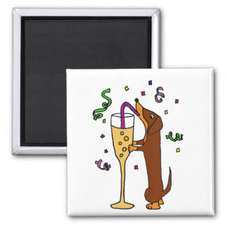 Funny Dachshund Drinking Champagne Magnet
