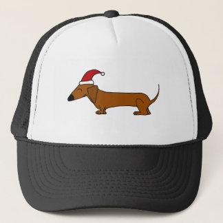 Funny Dachshund in Santa Hat Christmas Cartoon