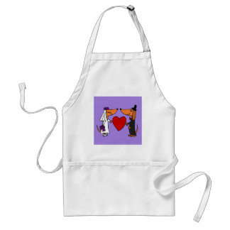 Funny Dachshund Puppy Dogs Bride and Groom Wedding Apron
