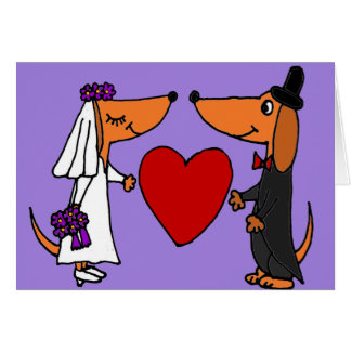 Funny Dachshund Puppy Dogs Bride and Groom Wedding Greeting Card