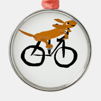 Funny Dachshund Riding Bicycle Silver-Colored Round Decoration