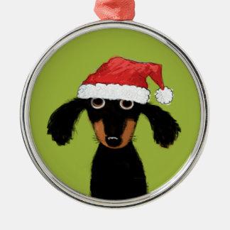 Funny Dachshund Santa Christmas Ornament