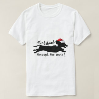 funny dachshund through the snow christmas t shirt