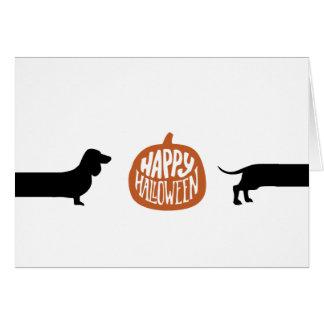 Funny Dachshund with Happy halloween pumpkin Card