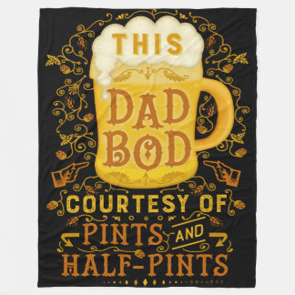 Funny Dad Bod Beer Pints Fathers Day Vintage Humor Fleece Blanket