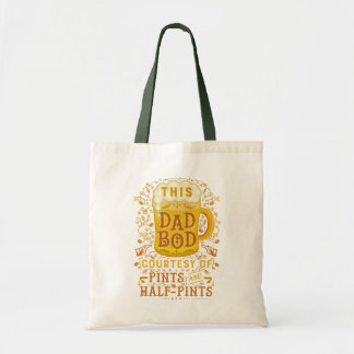 Funny Dad Bod Beer Pints Vintage Fathers Day Humor Budget Tote Bag