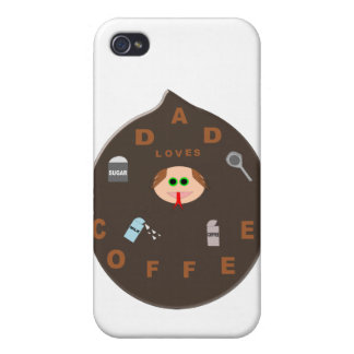 Funny Dad Monster Loves Coffee  Case For iPhone 4
