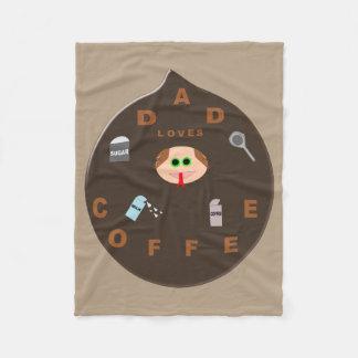 Funny Dad Monster Loves Coffee Fleece Blanket