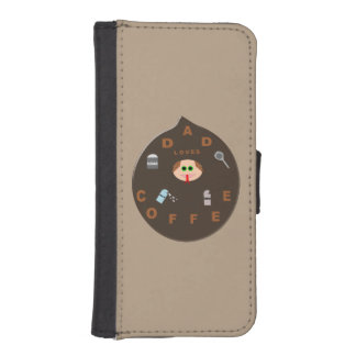 Funny Dad Monster Loves Coffee iPhone Wallet Case