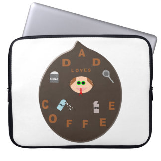 Funny Dad Monster Loves Coffee Laptop Sleeve