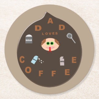 Funny Dad Monster Loves Coffee Paper Coasters