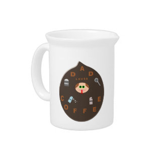 Funny Dad Monster Loves Coffee Pitcher