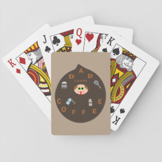 Funny Dad Monster Loves Coffee Playing cards