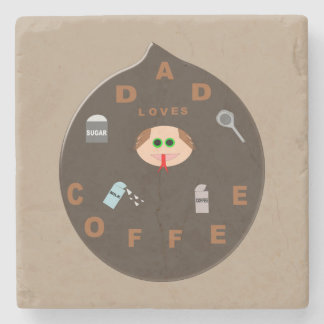 Funny Dad Monster Loves Coffee Stone Coaster