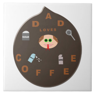 Funny Dad Monster Loves Coffee Tile