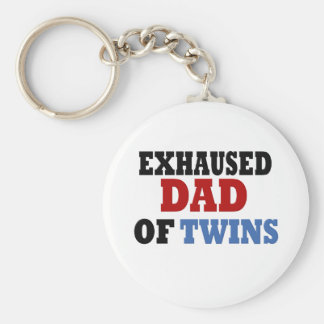 Funny Dad of Twins Basic Round Button Key Ring