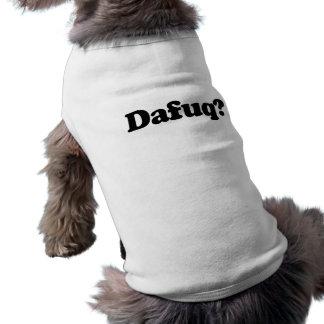 Funny dafuq humor sleeveless dog shirt