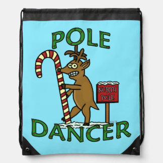Funny Dancer Christmas Reindeer Pun Drawstring Bags