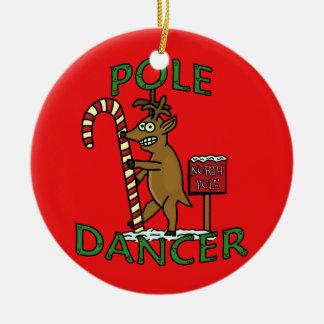 Funny Dancer Christmas Reindeer Pun Round Ceramic Decoration