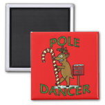 Funny Dancer Christmas Reindeer Pun Square Magnet