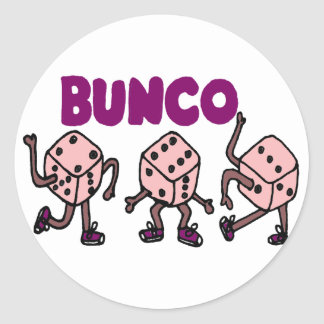 Funny Dancing Bunco Dice Round Sticker