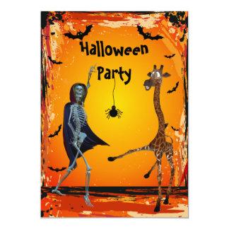 Funny Dancing Giraffe & Skeleton Halloween Party 13 Cm X 18 Cm Invitation Card