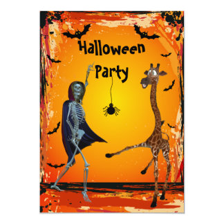 Funny Dancing Giraffe & Skeleton Halloween Party Card