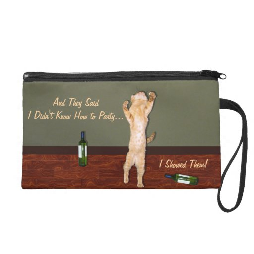 Funny Dancing Orange Party Cat Wristlet Clutches