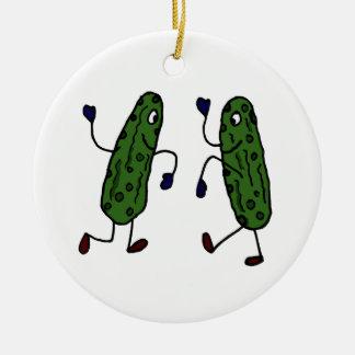 Funny Dancing Pickles Art Christmas Ornament