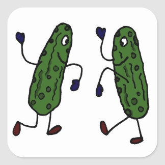 Funny Dancing Pickles Art Square Sticker