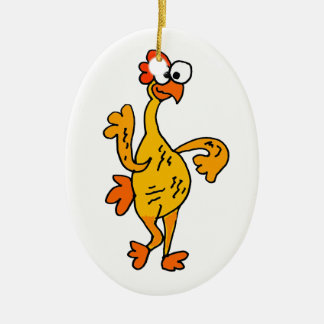 Funny Dancing Rubber Chicken Christmas Ornament