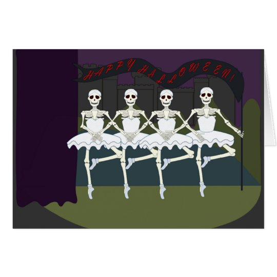 Funny Dancing Skeletons Ballerina Tutu Halloween Card