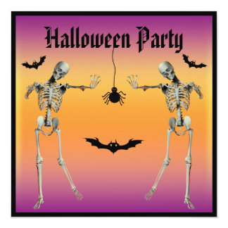Funny Dancing Skeletons Halloween Party 13 Cm X 13 Cm Square Invitation Card