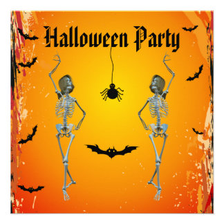 Funny Dancing Skeletons Halloween Party Invitations