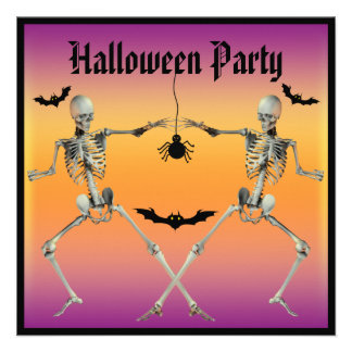 Funny Dancing Skeletons Halloween Party Custom Invites