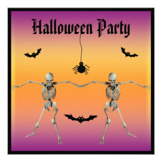 Funny Dancing Skeletons Halloween Party Announcements