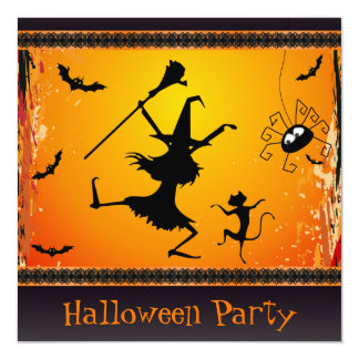 Funny Dancing Witch and Cat Halloween Party 13 Cm X 13 Cm Square Invitation Card