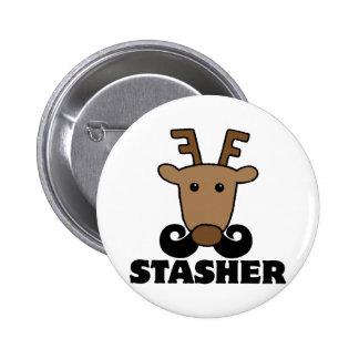 funny dasher stasher mustache reindeer pin