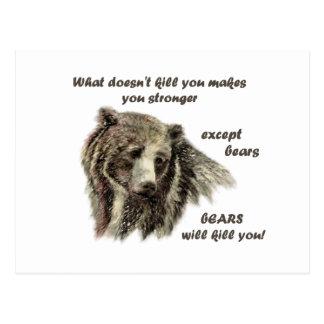 Funny De Motivational Quote Bears kill you Postcard