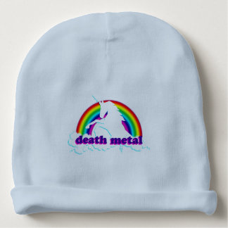 Funny Death Metal Unicorn and Rainbow Baby Beanie