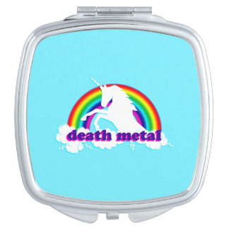 Funny Death Metal Unicorn and Rainbow Makeup Mirrors