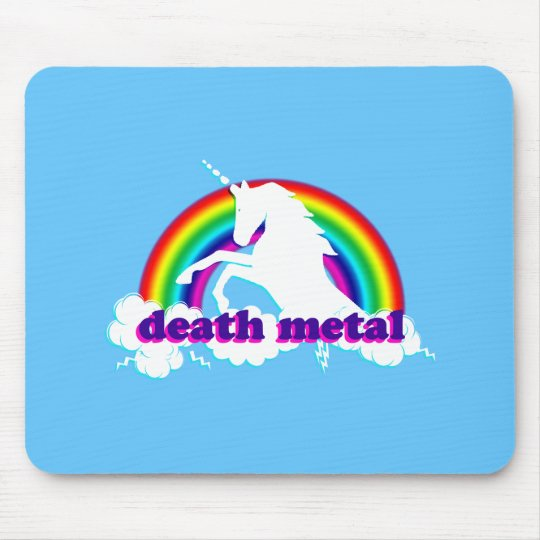 Funny Death Metal Unicorn and Rainbow Mouse Mat