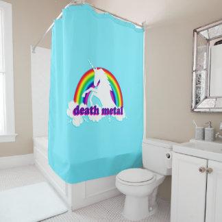 Funny Death Metal Unicorn and Rainbow Shower Curtain