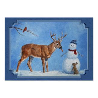 Funny Deer & Christmas Snowman Winter Blue 13 Cm X 18 Cm Invitation Card